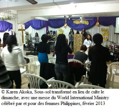 Sous-sol transformé en lieu de culte pour femmes Philippines à Nicosie, février 2013