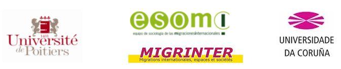 logos des universités de Poitiers et de la Corogne et des laboratoires Migrinter et Esomi